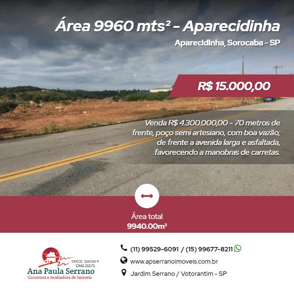Área 9960 mts² – Aparecidinha – VENDA ou LOCAÇÃO