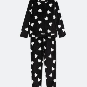 Pijama Manga Longa Calça com Estampa Corações Fleece | Lov | Preto | P