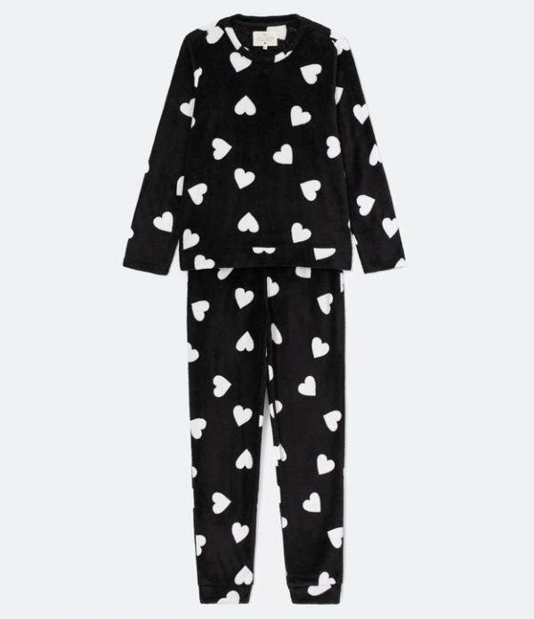 Pijama Manga Longa Calça com Estampa Corações Fleece | Lov | Preto | GG