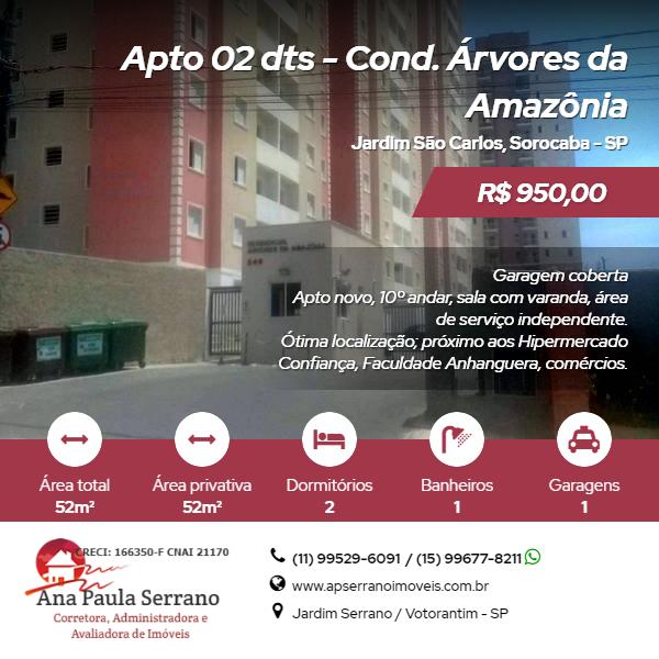 Apartamento, Árvores da Amazônia, Jardim São Carlos, Sorocaba.