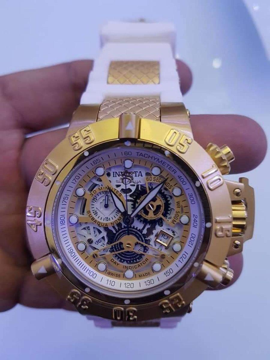 Relógio Invicta Masculino Subaqua Noma III 50mm Banhado A Ouro 18k2