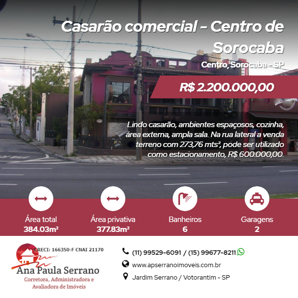Casarão comercial – Centro de Sorocaba