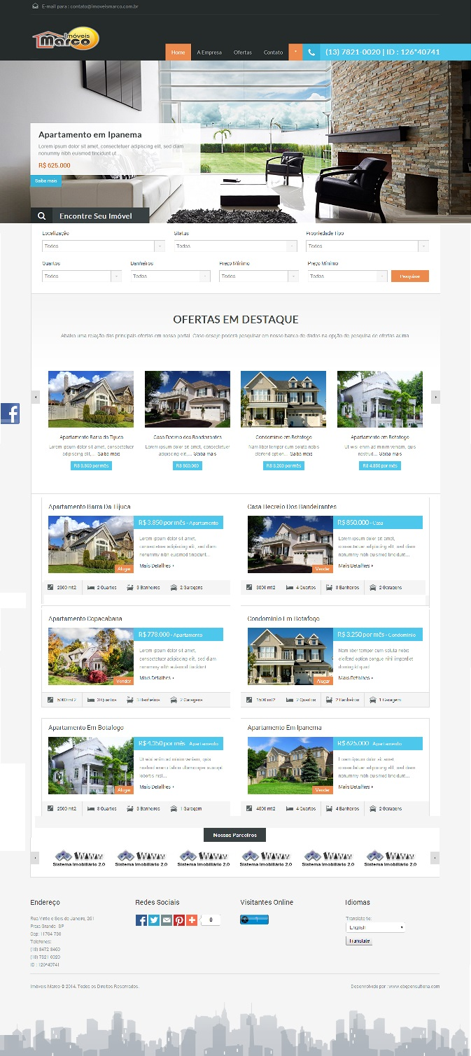 Site para Imobiliárias e Corretores Imóveis na Internet com Aplicativo