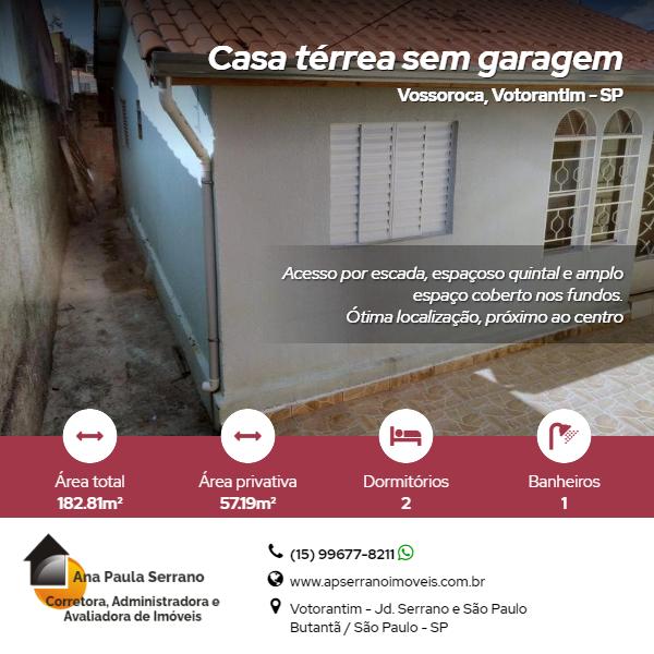 Casa térrea sem garagem – Vossoroca – Votorantim/SP