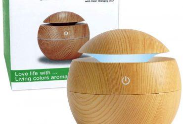 Difusor de Aromas Elétrico Ultrassônico 7 Cores Aromaterapia (Madeira