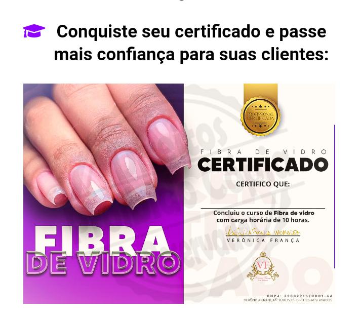 Alongamento de unhas em fibra de vidro e 5 Certificados e bônus.