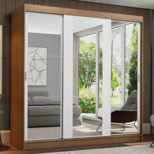 Guarda-Roupa Casal Madesa Reno 3 Portas de Correr de Espelho Rustic/Branco