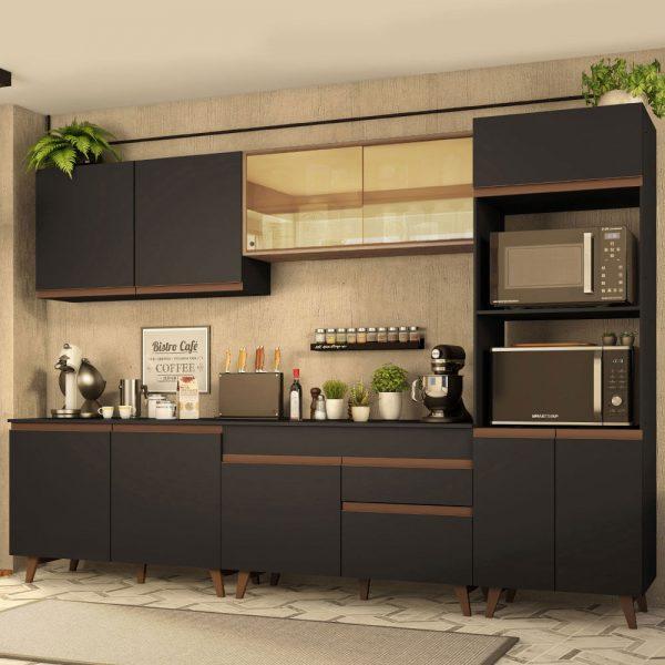 Cozinha Completa Madesa Reims 310001 com Armário e Balcão Preto/Rustic