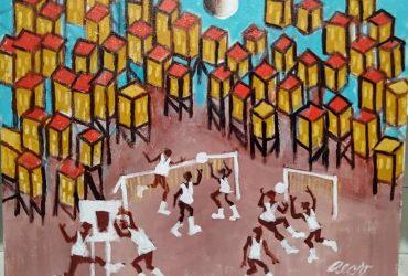 Aécio tema brincadeira das crianças na favela Medida 50×40