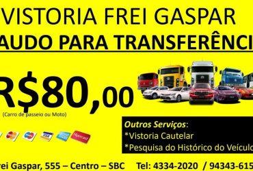 Vistoria Veicular R$80,00 em SBC